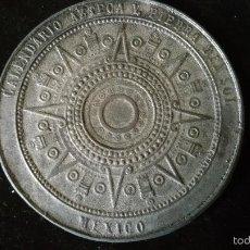 Medallas históricas: MEDALLA CONMEMORATIVA DEL SOL DE PIEDRA,CALENDARIO AZTECA. Lote 57405645