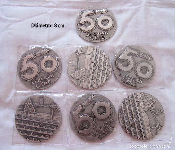 LOTE 7 MEDALLAS 50 ANIVERSARIO TELEFONICA (Numismática - Medallería - Histórica)