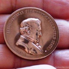 Medallas históricas: JAMES BUCHANAN, PRESIDENTE DE ESTADOS UNIDOS. MEDALLA CONMEMORATIVA. AÑO 1857. Lote 57663072