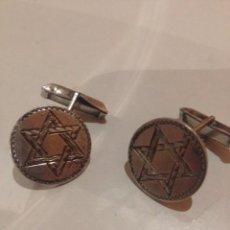 Medallas históricas: JUEGO JEMELOS PLATA 925 CON ESTRELLA DE DAVID AÑOS 40. Lote 58017455