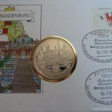 Medallas históricas: MEDALLA PLATA PURA DE BRANDENBURGO ALEMANIA EN SOBRE FILATELICO PRIMER DIA CIRCULACION, PESA 24 GRS. Lote 58205285