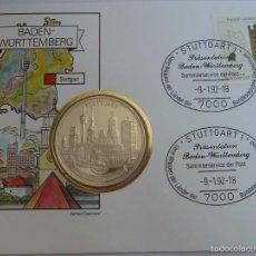 Medallas históricas: MEDALLA PLATA PURA DE STUTTGART ALEMANIA EN SOBRE FILATELICO PRIMER DIA CIRCULACION, PESA 24 GRS. Lote 58205549