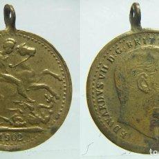 Medallas históricas: MEDALLA EDWARDUS VII D.G. BRITT CORONATION COIN 1902.. Lote 62455108