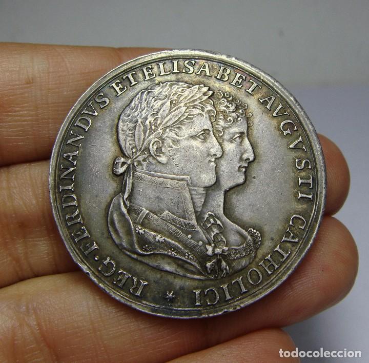 Medallas históricas: Medalla Boda de Fernando VII e Isabel de Portugal. Plata. Cádiz - 1816. (ara en plata) - Foto 2 - 65550630