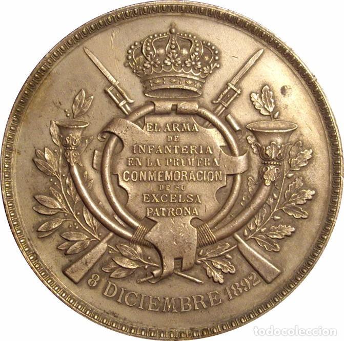 Medallas históricas: ALFONSO XIII. MEDALLA HOMENAJE A LA PATRONA DE INFANTERÍA. 1.892. PLATEADA - Foto 1 - 71566575