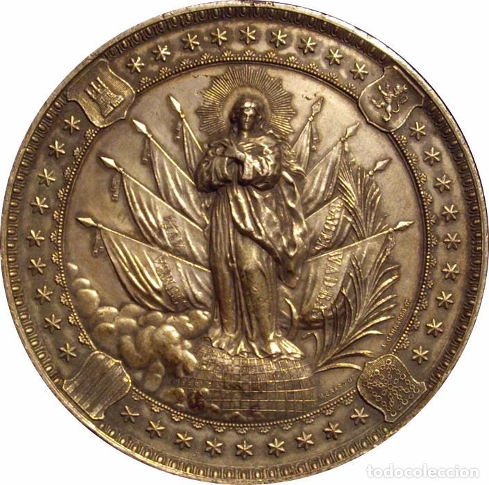Medallas históricas: ALFONSO XIII. MEDALLA HOMENAJE A LA PATRONA DE INFANTERÍA. 1.892. PLATEADA - Foto 2 - 71566575