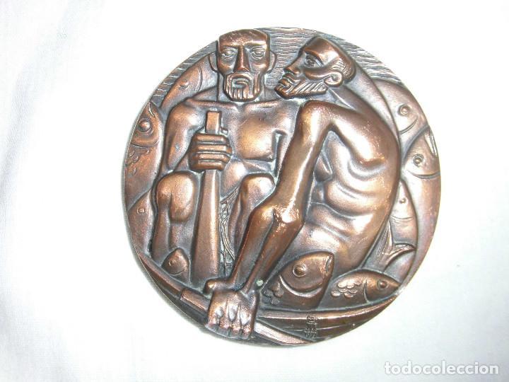 Medallas históricas: MEDALLA F.N.M.T. 1971.SUBASTA DE PESCADORES.BRONCE - Foto 2 - 72420719