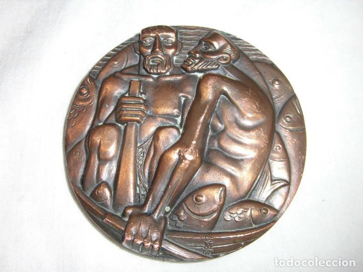 Medallas históricas: MEDALLA F.N.M.T. 1971.SUBASTA DE PESCADORES.BRONCE - Foto 3 - 72420719