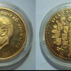 Historical Medals - Medalla conmemorativa 1949 1963 konrad adenauer baño de oro proof - 76564151