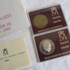 Medallas históricas: JUEGO DE 2 MEDALLAS PLATA Y LATÓN BICENTENARIO CARLOS III. Lote 131692895