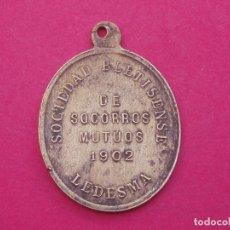 Medallas históricas: HISTÓRICA MEDALLA ANTIGUA SOCIEDAD BELITENSE AÑO 1902. LEDESMA. SALAMANCA.. Lote 81175728