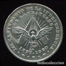 Medallas históricas: LAMBAYEQUE (PERU) - 1920 - MEDALLA DE PLATA DEL PRIMER CENTENARIO DE LA INDEPENDENCIA (1829-1920). Lote 87360288