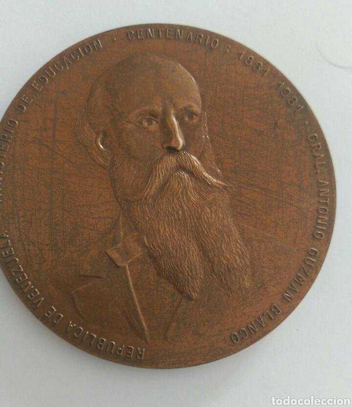 MEDALLA CENTENARIO. PRESIDENTE GRAL ANTONIO GUZMÁN BLANCO. MINISTERIO DE EDUCACIÓN VENEZUELA 1981 (Numismática - Medallería - Histórica)