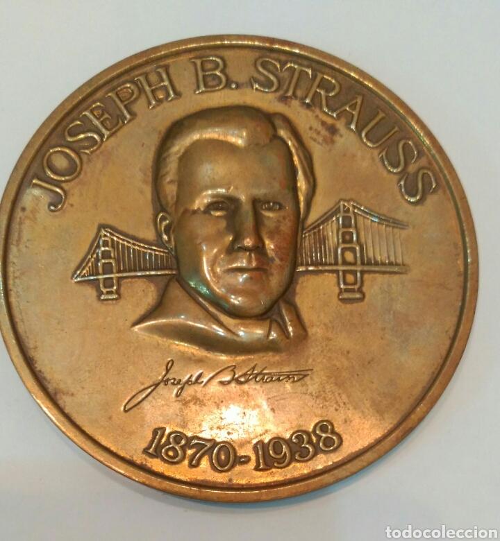 Medallas históricas: MEDALLA CONMEMORATIVA A JOSEPH B. STRAUSS, INGENIERO QUE CONSTRUYÓ EL FAMOSO PUENTE GOLDEN GATE - Foto 5 - 88953936