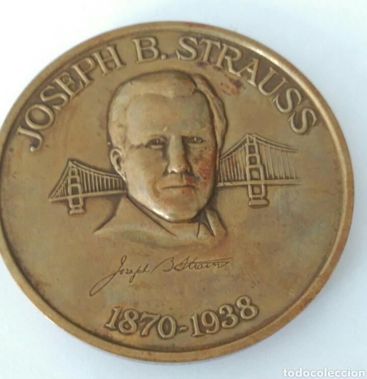 Medallas históricas: MEDALLA CONMEMORATIVA A JOSEPH B. STRAUSS, INGENIERO QUE CONSTRUYÓ EL FAMOSO PUENTE GOLDEN GATE - Foto 7 - 88953936