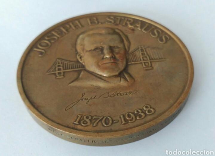 Medallas históricas: MEDALLA CONMEMORATIVA A JOSEPH B. STRAUSS, INGENIERO QUE CONSTRUYÓ EL FAMOSO PUENTE GOLDEN GATE - Foto 8 - 88953936