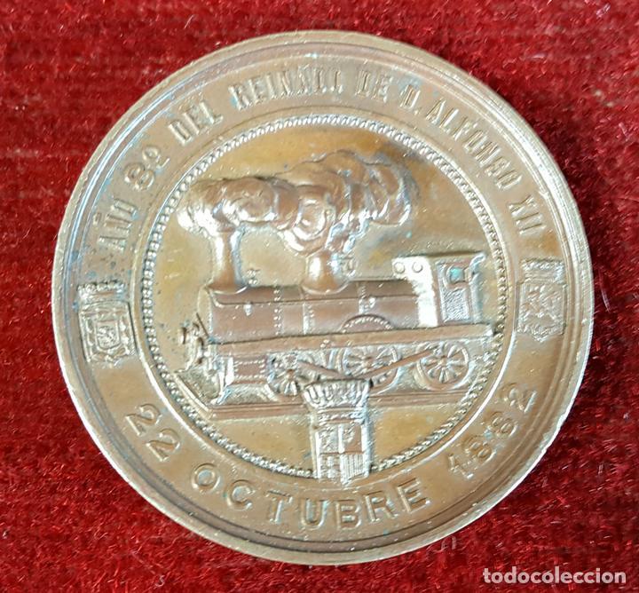 MEDALLA DE BRONCE. INAUGURACIÓN DEL FERROCARRIL DE CANFRANC. OCTUBRE DE 1882. (Numismática - Medallería - Histórica)