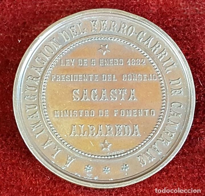 Medallas históricas: MEDALLA DE BRONCE. INAUGURACIÓN DEL FERROCARRIL DE CANFRANC. OCTUBRE DE 1882. - Foto 3 - 90709275