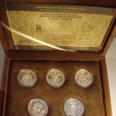 Medallas históricas: MÉXICO. SET DE 5 MEDALLAS DE 2 ONZAS C/U, -FUSIÓN DE DOS CULTURAS-. PLATA PROOF. ESTUCHE. Lote 91956610