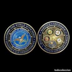 Medallas históricas: MONEDA CONMEMORATIVA - GRAN TAMAÑO - ESTADOS UNIDOS - PROUD MILITARY FAMILY - CAPSULA CON GOLPE FOTO. Lote 92153815