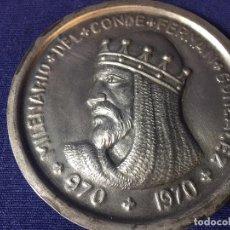 Medallas históricas: GRAN MEDALLA MILENARIO CONDE FERNAN GONZALEZ BURGOS CASTILLA HEROE CANTARES DE GESTA 970 1970 8CM.. Lote 94860031