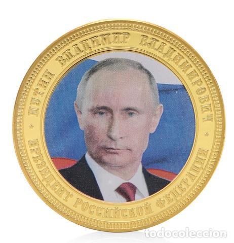 Medallas históricas: MONEDA CONMEMORATIVA PRESIDENTE VLADIMIR PUTIN - RUSIA CRIMEA - BAÑADA ORO - LEER DESCRIPCION - Foto 2 - 95430551