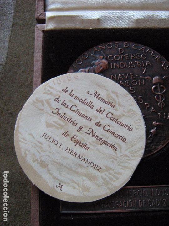 Medallas históricas: MEDALLA CONMEMORATIVA DE 100 AÑOS CAMARAS DE COMERCIO INDUSTRIA Y NAVEGACION - CADIZ - VER FOTOS - Foto 3 - 97147003