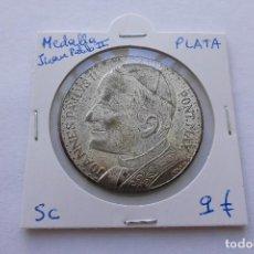 Medallas históricas: MEDALLA PLATA JUAN PABLO II VIAJE DEL PAPA A ESPAÑA. Lote 97924583