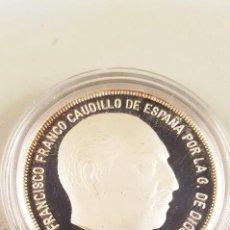 Medallas históricas: FRANCISCO FRANCO CAUDILLO DE ESPAÑA - 1 ONZA PLATA PURA. TAMAÑO 4 CM. Lote 98849259