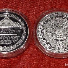 Medallas históricas: MEDALLA PROFECÍA FIN DEL MUNDO / CALENDARIO MAYA / BAÑO PLATA / 40 MM / 33 GR / DE LUJO. Lote 149948308