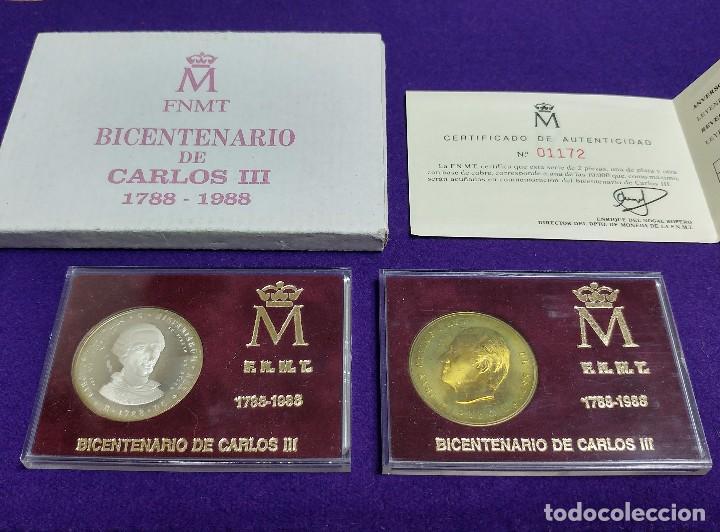 2 MEDALLAS BICENTENARIO CARLOS III. 1788-1988. DE PLATA Y COBRE. EN SUS ESTUCHES ORIGINALES. MONEDAS (Numismática - Medallería - Histórica)