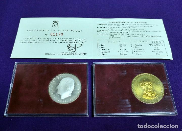 Medallas históricas: 2 MEDALLAS BICENTENARIO CARLOS III. 1788-1988. DE PLATA Y COBRE. EN SUS ESTUCHES ORIGINALES. MONEDAS - Foto 2 - 105737871