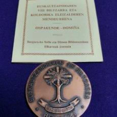 Medallas históricas: MEDALLA DE COBRE. CENTENARIO BERGARA (GUIPUZCOA). 1878-1978. EUSKALTZAINDIAREN VIII BILTZARRA.. Lote 216534551