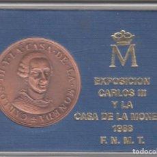 Medallas históricas: MEDALLA: 1988 EXPOSICION CARLOS III Y LA CASA DE LA MONEDA F.N.M.T.. Lote 106066679