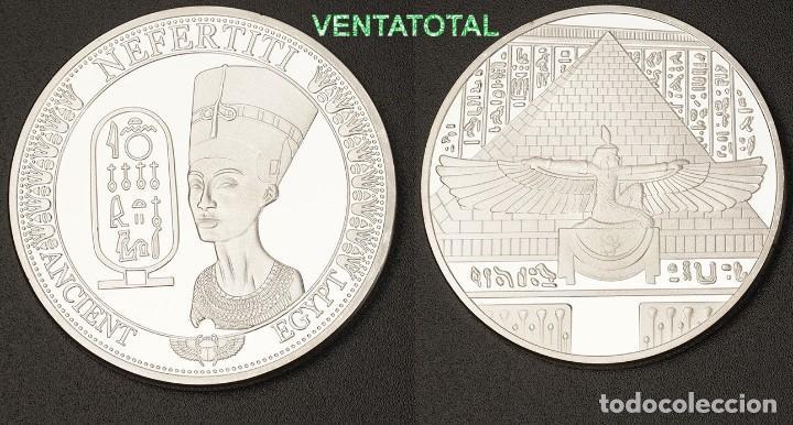 MEDALLA PLATA TIPO MONEDA HOMENAJE A NEFERTITI REINA DEL ANTIGUO EGIPTO - PESA 28,21 GRA - Nº2 (Numismática - Medallería - Histórica)