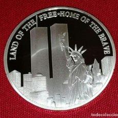 Medallas históricas: MANEDA PLATEADA 11 DE SEPTIEMBRE DE 2001 911 TWIN TORRES, ESTATUA DE LA LIBERTAD DE RECUERDO. . Lote 112459851