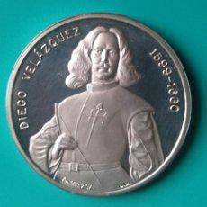 Medallas históricas: DIEGO VELÁZQUEZ - 1599-1660 - LAS MENINAS - 2 OZ - 62,5 GR. PLATA 999 MILESIMAS - 47MM.X5MM.. Lote 116804203