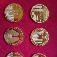 Medallas históricas: 6 MONEDAS -SERIE ORO- CONMEMORATIVAS RECUERDO TORRES GEMELAS (NUEVAS). Lote 117934739