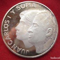 Medallas históricas: ESPAÑA. JUAN CARLOS Y SOFÍA. 1 ONZA PLATA PURA PROOF. Lote 118672047