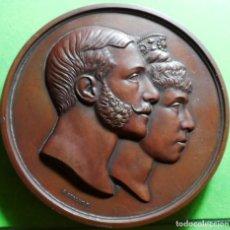Medallas históricas: ALFONSO XII, 1879, MEDALLA CONMEMORATIVA DE LA BODA, 71 MM, BRONCE, CASI NUEVA. GRABADOR, G.SELLAN.F. Lote 121775051