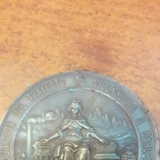 Medallas históricas: MEDALLA FERROCARRILES MADRID /BARCELONA INAUGURACIÓN VILLANUEVA BARCELONA 1881 FERROCARRIL 56. Lote 126008200