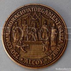 Medallas históricas: MEDALLA 750 CONMEMORACIO ATORGAMENT CARTA POBLA - ALCOY-750 ANYS 1256 2006. Lote 126201079