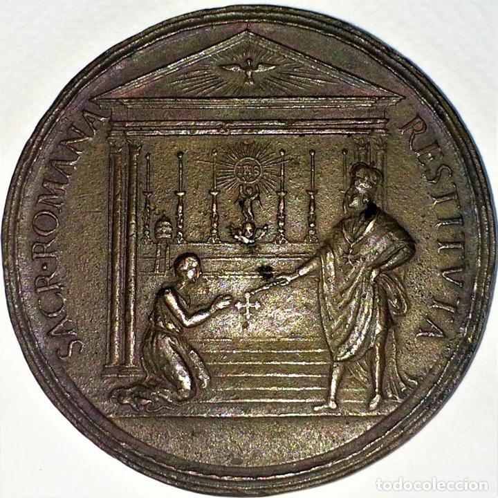Medallas históricas: MEDALLA CONMEMORATIVA DE LUIS XIV. COBRE CINCELADO. FRANCIA. PRINCIPIO SIGLO XVIII - Foto 2 - 131920530