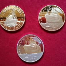 Medallas históricas: 3 MONEDAS -SERIE TITANIC- ORO, ORO-PLATEADA CONMEMORATIVAS RUTA-HUNDIMIENTO DEL TITANIC 15 DE ABRIL. Lote 132915178