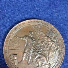 Medallas históricas: MEDALLA BRONCE CUARTO CENTENARIO DESCUBRIMIENTO AMERICA COLON MADRID 1892 B. MAURA 7CMS. Lote 133696130