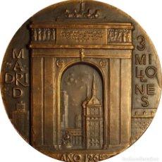 Medallas históricas: ESPAÑA. FRANCO. MEDALLA F.N.M.T. MADRID 3 MILLONES HABITANTES. 1.968. BRONCE. Lote 133767562