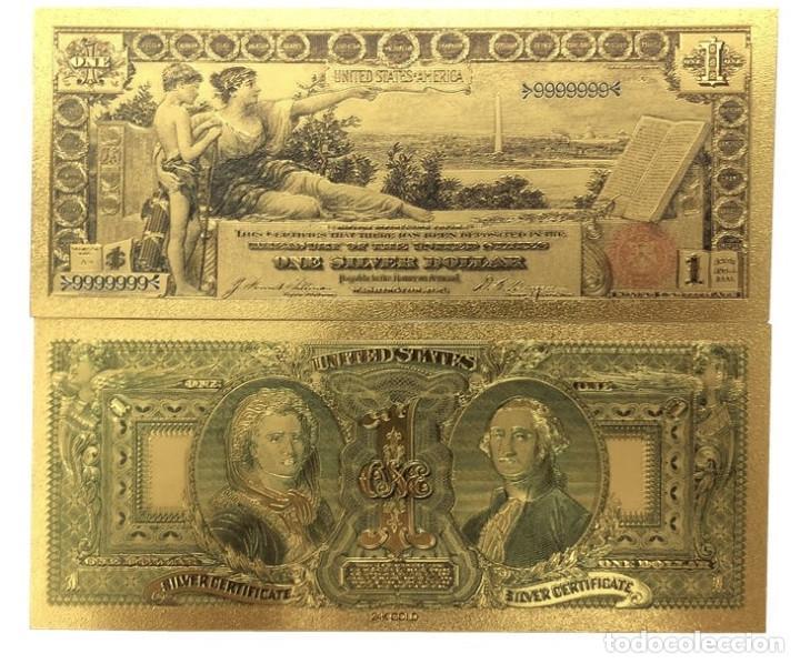 AMÉRICA 1896 AÑOS GOLD BANKNOTES USD 1 BILLETES DÓLAR 24 K GOLD BILL (Numismática - Medallería - Histórica)