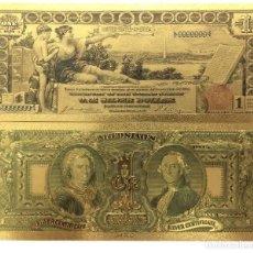 Medallas históricas: AMÉRICA 1896 AÑOS GOLD BANKNOTES USD 1 BILLETES DÓLAR 24 K GOLD BILL. Lote 174548513