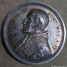 Medallas históricas: MAGNIFICA GRAN MEDALLA PLATA MACIZA BENEDICTO XV 1916. Lote 135062773