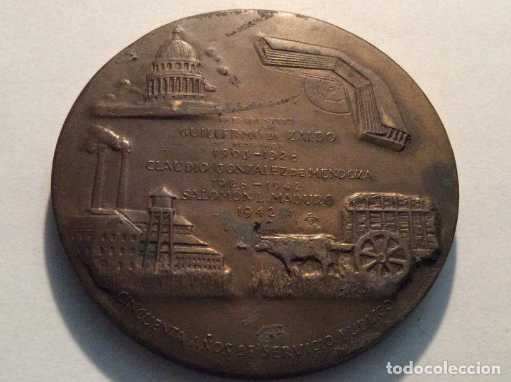 Medallas históricas: Medalla Compañia Cubana de Fianzas SA. Cincuentario diam. 7,5cm - Foto 3 - 136754762